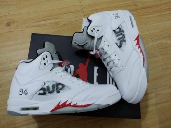 Tênis Masculino Air Jordan Retro 5 Supreme White Original