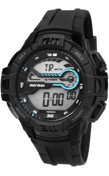 Relógio Mormaii Mo1081/8c Mo1081 8c Preto Acqua Pro Azul