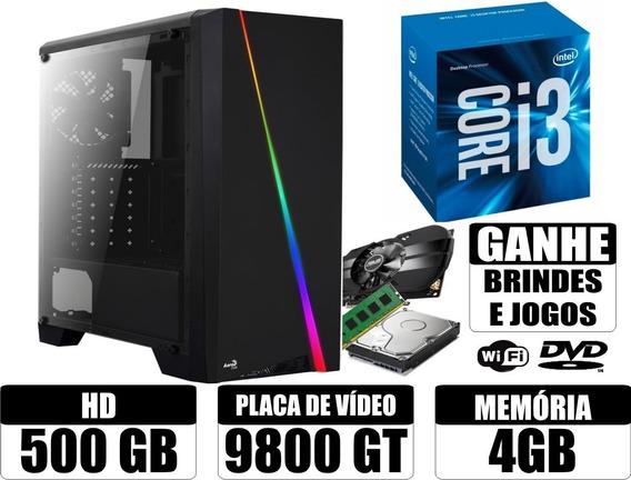 Cpu Gamer Core I3 4gb 500gb 1gb De Video + Wifi E Brindes