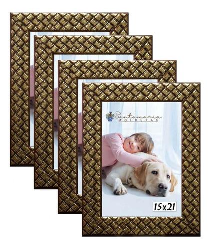 Imagem 1 de 3 de Kit 4 Molduras Porta Retrato 15x21 3cm Relevo Dourado