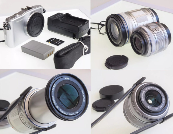 R$1099 Mirrorless Olympus Epm 1 + 2 Lentes 14-42 E 40-150mm