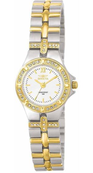 Relógio Pequeno Feminino Prata Folheado A Ouro Invicta