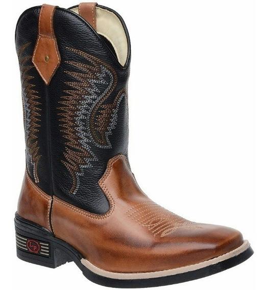 Bota Botina Country Masculina Texana Em Couro Montaria