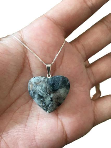 Colar Pedra Natural Coração Cordão Prata 925 Cl62