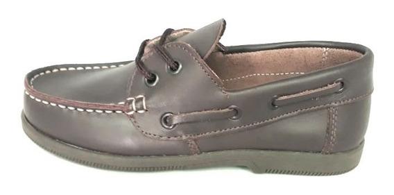 Zapato Cuero Marrón Cordón Vestir Colegial Escuela
