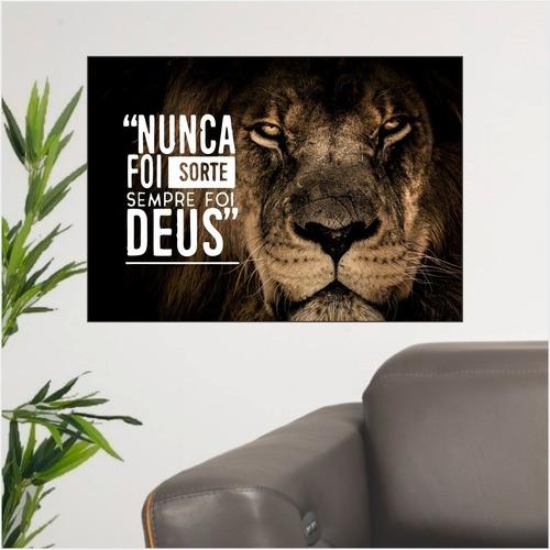 Imagem 1 de 3 de Quadro Leão De Judá Nunca Foi Sorte Sempre Foi Deus