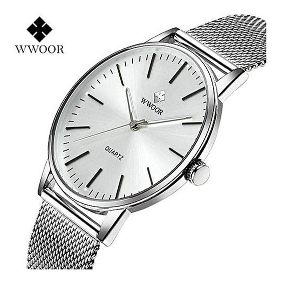 Relógio Masculino Wwoor Prata + Carteira