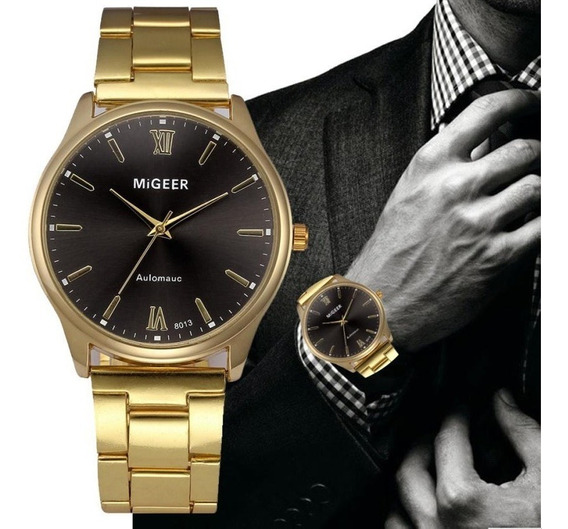 Relógio Luxo Masculino Migger Dourado Pulseira Inoxidável