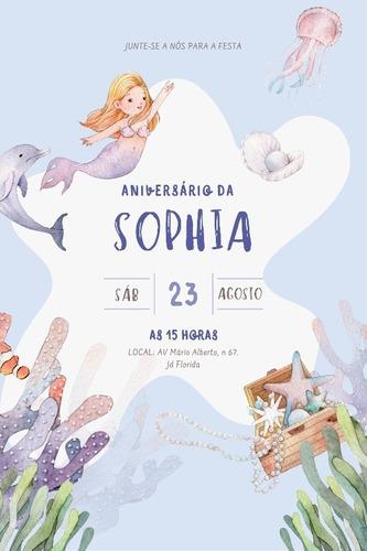 Imagem 1 de 1 de Convite Digital Sereia Aniversário Infantil