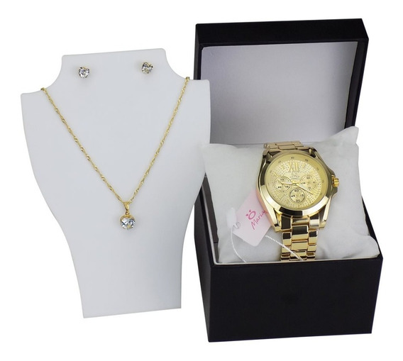 Relógio Feminino Dourado Casual+kit Colar Brincos Original