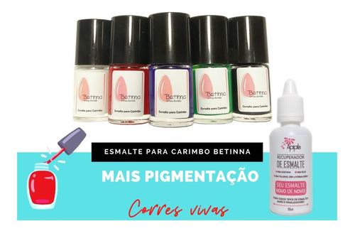 Kit 05 Esmaltes Para Carimbo Betinna + Recuperador