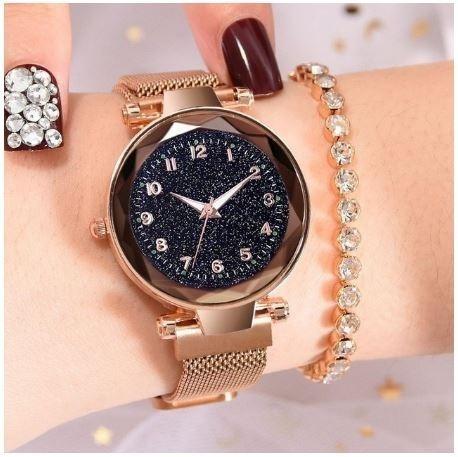 Relógio Feminino Céu Estrelado Pulseira Imã Magnético - Rosê