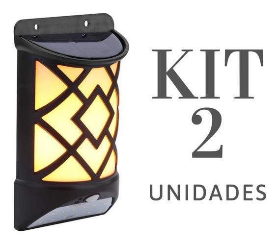 Luminaria De Parede Efeito Chama Fogo Com Sensor De Presença Led Exterior Energia Solar Arandela Kit 2 Uni