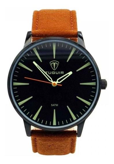 Relógio Masculino Tuguir 5273g Preto Marrom Original C Nfe