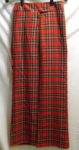 Pantalon Oxford Tela Escocesa Talle Xs Contorno Cadera 86 Cm