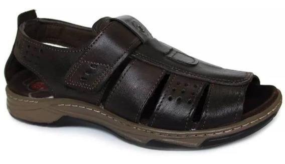 Sandalia Pegada 132202-04 Brown Em Couro E Velcro P/ Ajudar