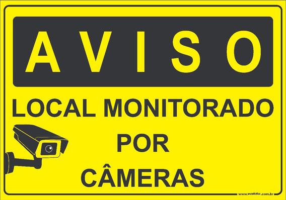 Placa Local Monitorado Por Câmeras Segurança Câmera Filmado