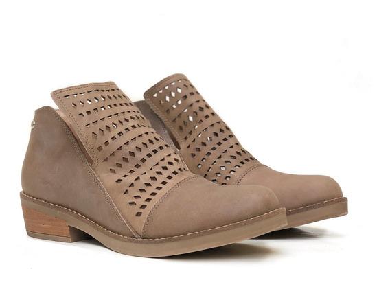 Zapatos Botinetas Bajas Caladas Mujer Cuero Moda Lala Heyas