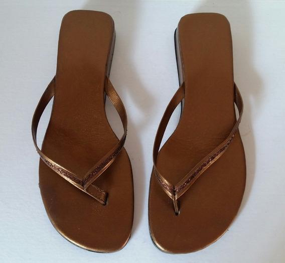 Sandalias Cuero Color Ocre Talle 36