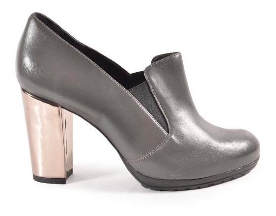 Zapatos De Mujer De Cuero Gris Magnalio - Ferraro -