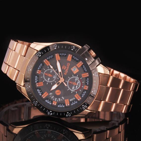 Relógio Masculino Pulseira Aço Dourado Casual Esportivo Top