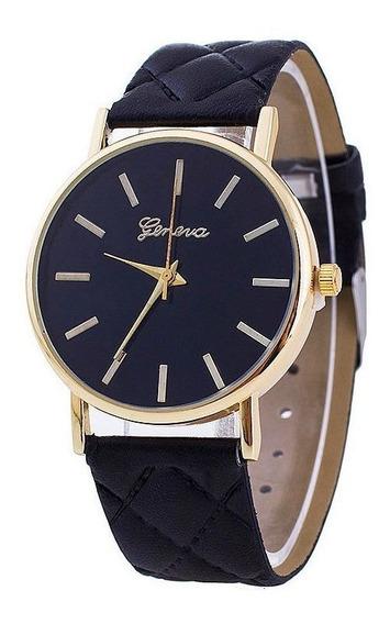 Relógio Preto E Dourado Pulseira De Couro Sintético C/ Nota