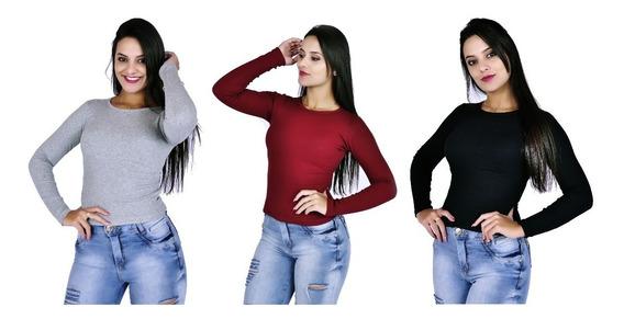 Kit 5 Blusa Feminina Manga Longa Malha Canelada Blusa Frio