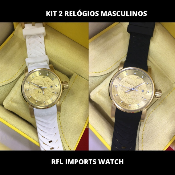 Kit Com 2 Relógios De Luxo Masculino Militar Casual + Brinde