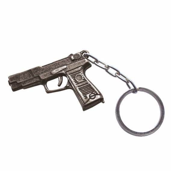 Chaveiro De Metal Pistola Cromado