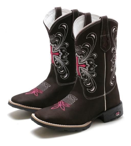 Bota Country Feminina Bico Quadrada Texana Cano Longo Couro