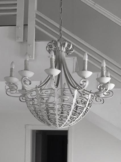 Lustre Antigo De Ferro Forjado Branco - 12 Lâmpadas- Chique