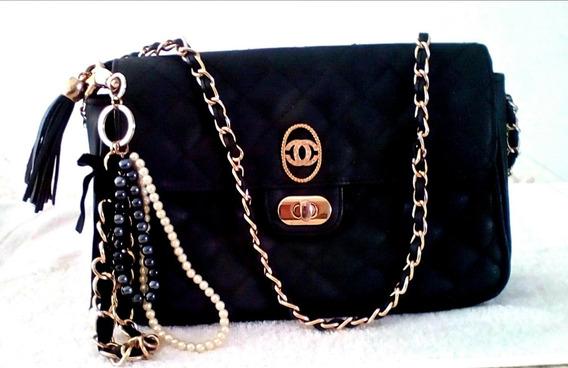 Cartera Estilo Chanel 2.55 Color Negro Set De Tres Piezas