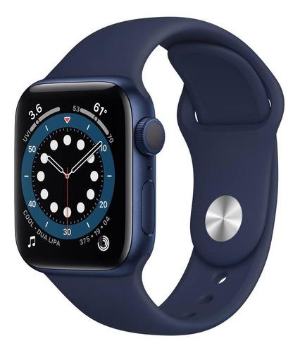 Imagen 1 de 8 de Apple Watch  Series 6 (GPS) - Caja de aluminio azul de 44 mm - Correa deportiva azul marino intenso