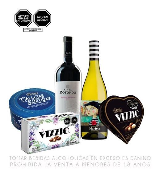 Pack Vino Malbec + Albariño + Galletas + Chocolates