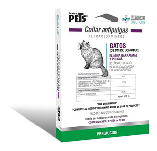 Collar 2 En 1 Anti Pulga-garrapata Ms 39cm Gatos Blanco 3601