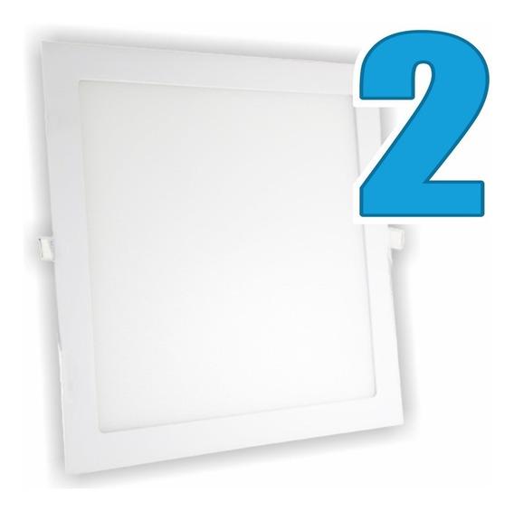 Kit 2 Painel Plafon Luminária Embutir Quadrado 6w Bivolt