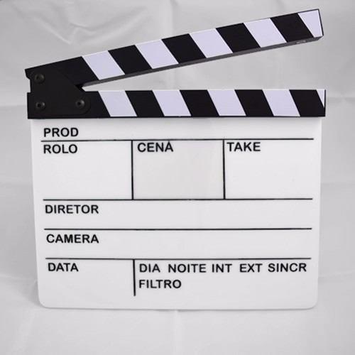 Claquete Pza Profissional Acrílico Produção Filme Vídeo