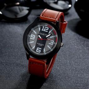 Relógio Masculino Gaiety Pulseira De Couro Resistente À Água