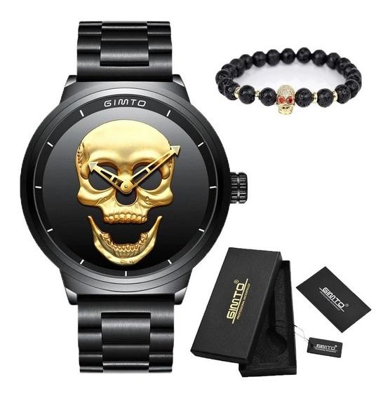 Relógio Caveira Dourada+pulseira Preto Aprova D,agua C/caixa