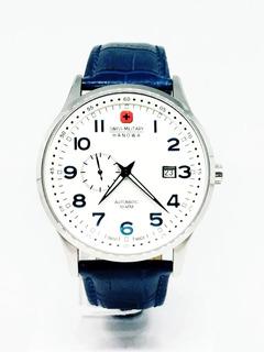 Reloj Swiss Military Cuero Azul Automatico 100mts Zafiro
