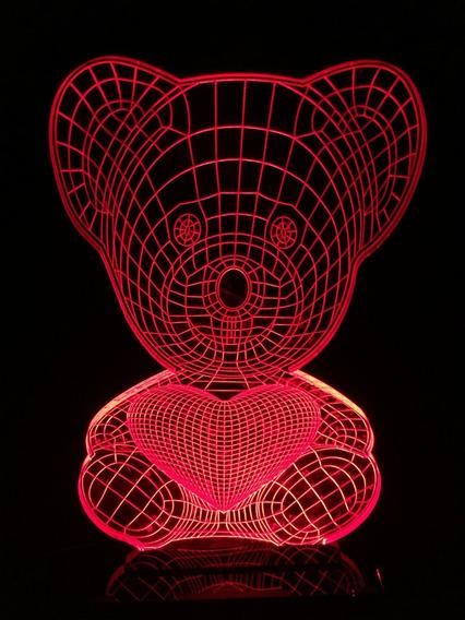 Luminária 3d Urso Coração Em Acrílico + Led