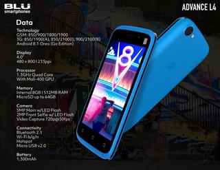 Smartphone Blu Advance L4 Android 8.1 Oreo (go Edition)
