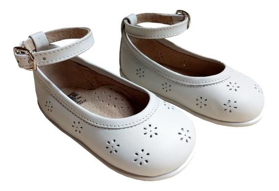 Bailarinas Zapatos De Beba Niña 100% Cuero Bautismo/fiesta