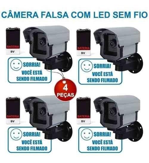 04 Micro Câmera Falsa Fake Led Pilha Sem Fio Bateria Brinde