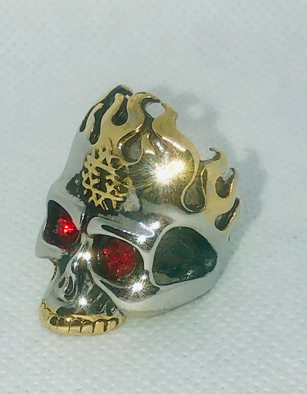Anillo Craneo Calavera Acero Inox. Talla 18 Skull Dorado