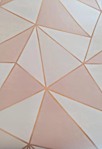 Papel De Parede Adesivo Geométrico Rose Gold E Branco 2,50m²