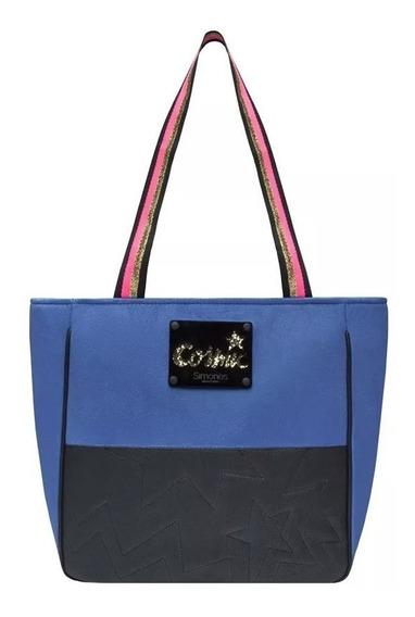 Cartera Negra Y Azul Con Cuero Simones Original Cosmic 30x30