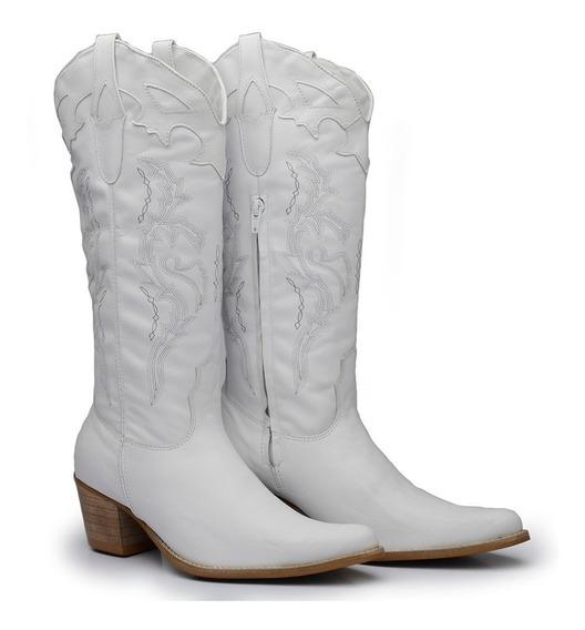 Bota Branca Feminina Texana Country Cano Longo 100% Couro