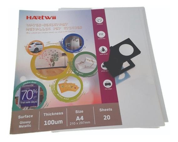 Vinilo Inkjet Autoadhesivo Plateado A4 20hj Hartwii Sticker
