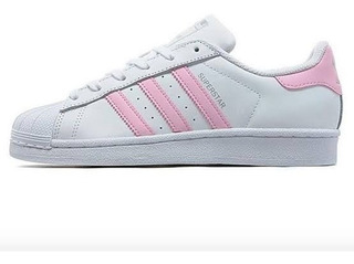 adidas superstar mujer rosa y blanco